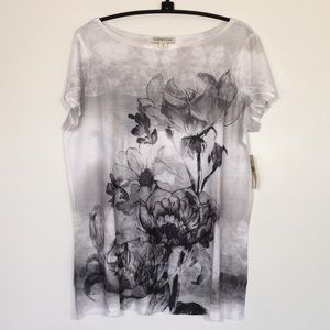 NWT Coldwater Creek Black & White Flower Top Tee